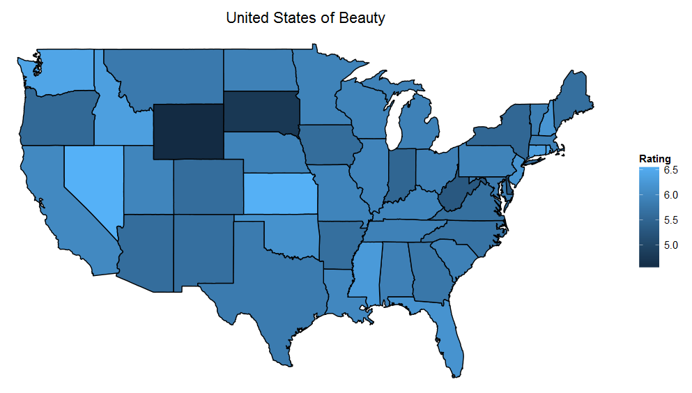 Map showing average attractiveness by state