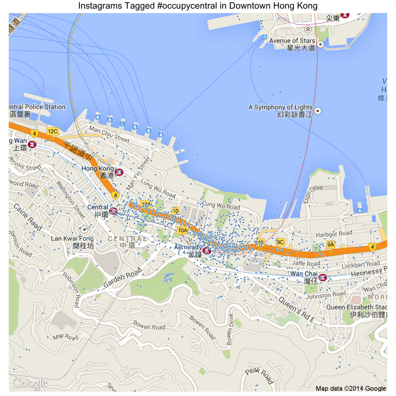 Map of Instagrams tagged #occupycentral