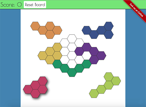A screen shot of the hexiles puzzle game